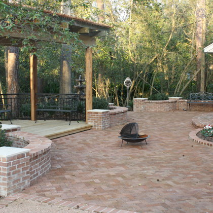 Pavers, Brick Walls, Fountain, and Pergola